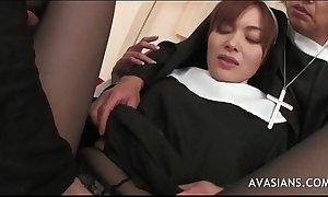 Gorgeous realize one's assimilation nun receives group-fucked