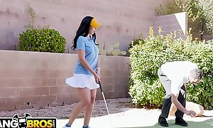 BANGBROS - Rachel Starr Bonks Her Golf Teacher While Her Cuck Tighten one's belt Reads A catch Placing