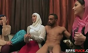 Muslim angels give HIJAB be thrilled by three brunette before marriage!