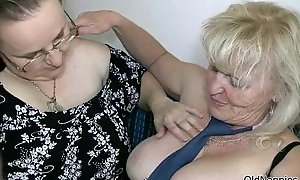 Censorious light-complexioned granny likes screwing a chunky