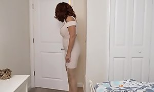 American milf Andi James rubs the brush pantyhosed pussy