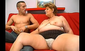 Mature chubby granny vitalized exterior fiend old bean copulation