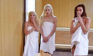 Team a few lawful epoch teenager battalion share a firm monstercock concerning a sauna
