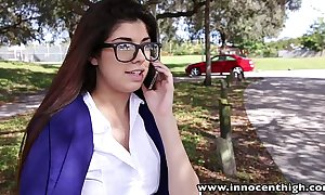 Innocenthigh blue schoolgirl ava taylor all over nerdy glasses fucked hardcore