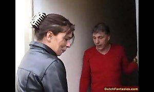Dutch old daughter teaches shy son sex